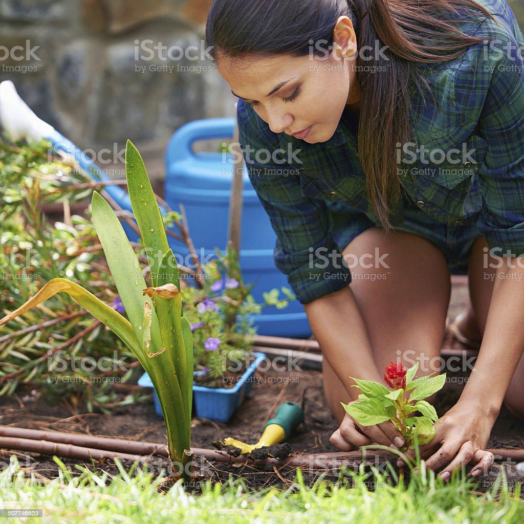 De-stressing down in the garden royalty-free stock photo
