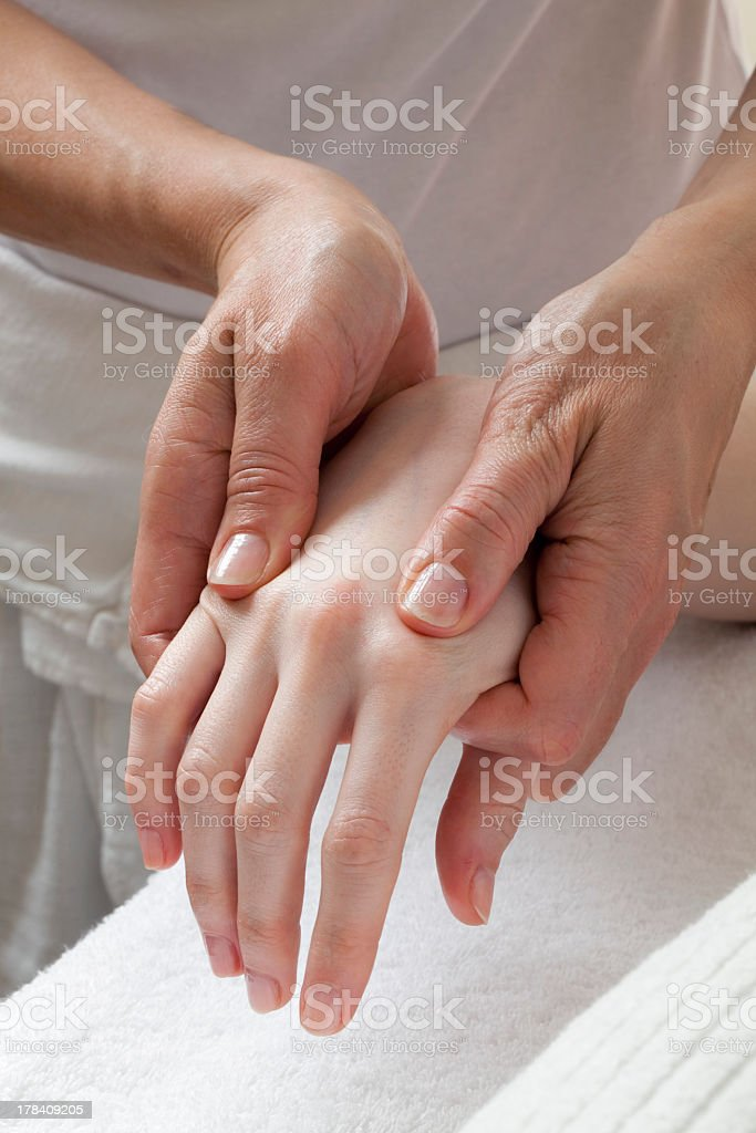 destressing hand massage royalty-free stock photo