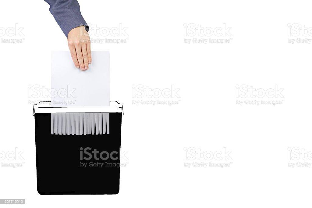 Destroy white documents stock photo