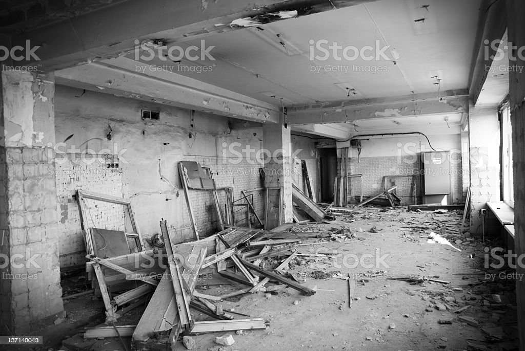 Destroyed abandoned office royalty-free stock photo
