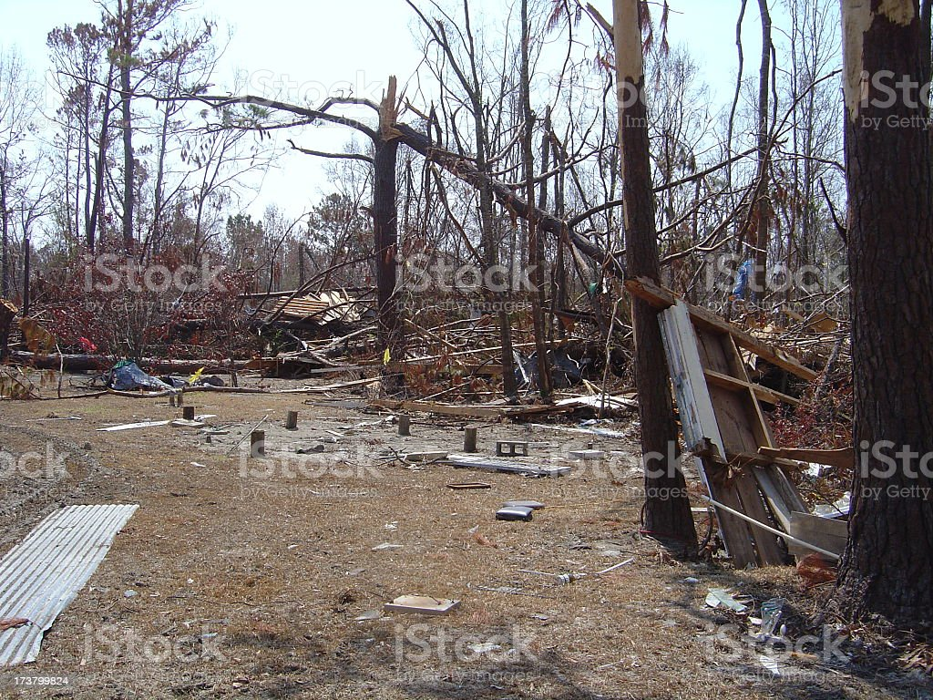 Destroyed Baptist Church is in Forest After Hurricane Katrina royalty-free stock photo