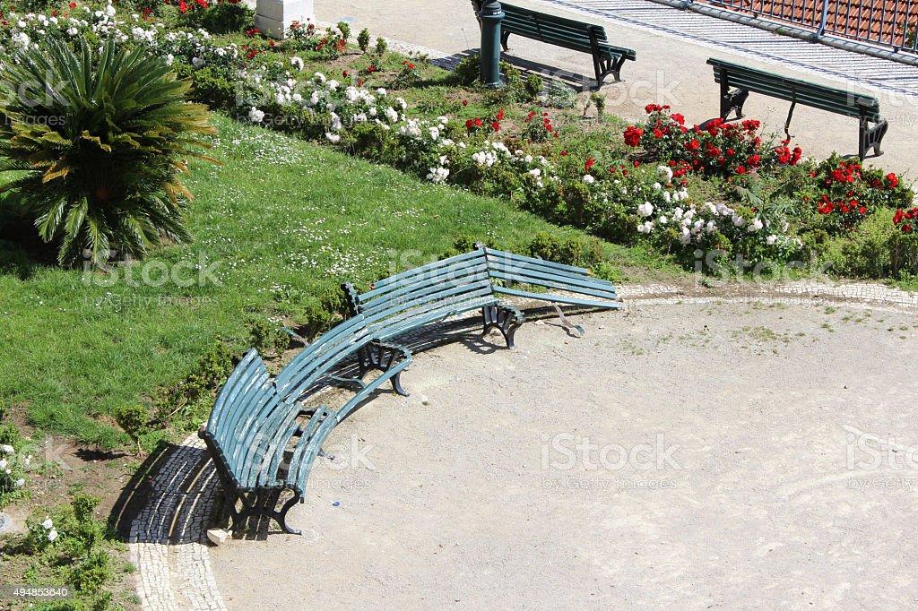 Destroyed Bench, Vandalism stock photo