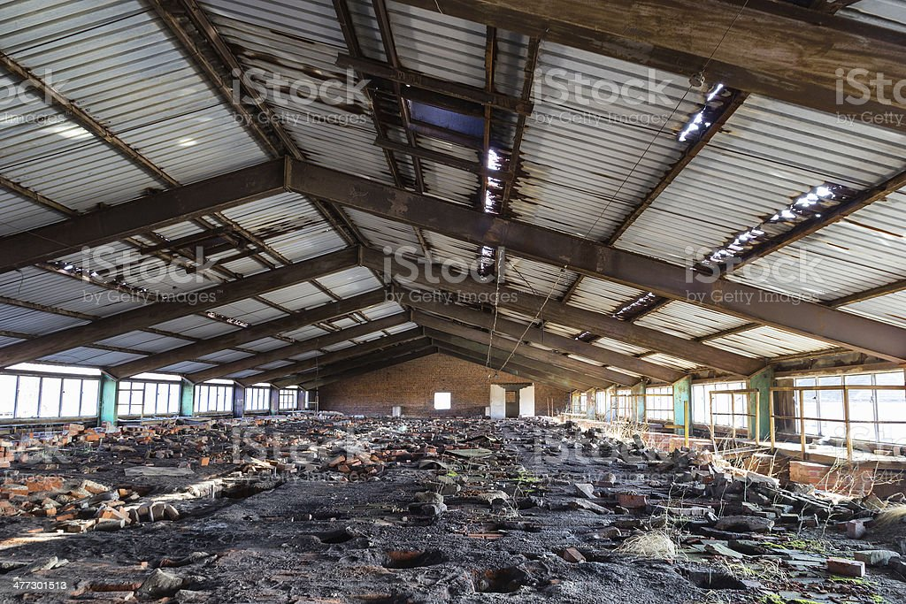 destroyed brick factory royalty-free stock photo