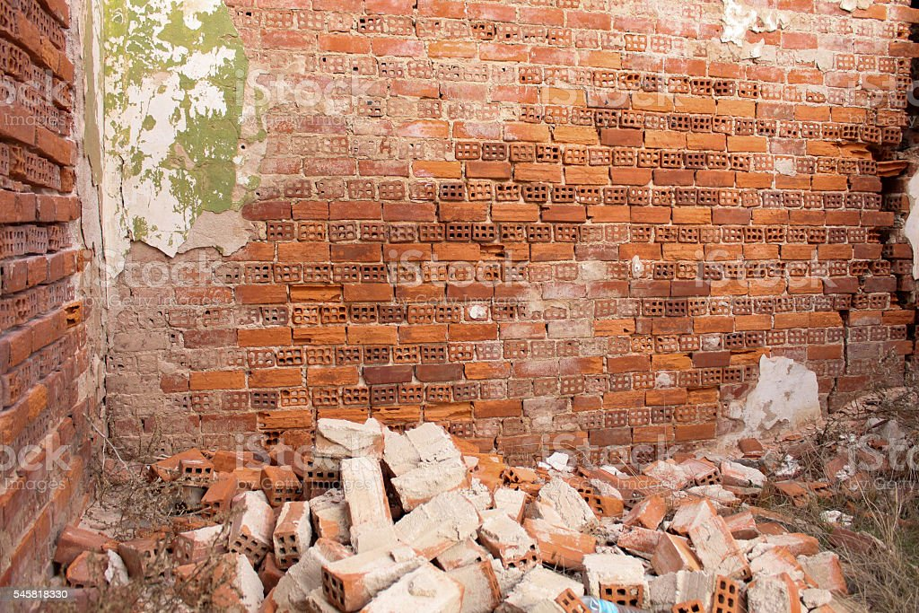 Destroyed Brick Wall stock photo