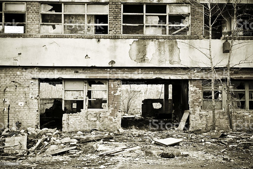 Destroyed building on crisis time royalty-free stock photo