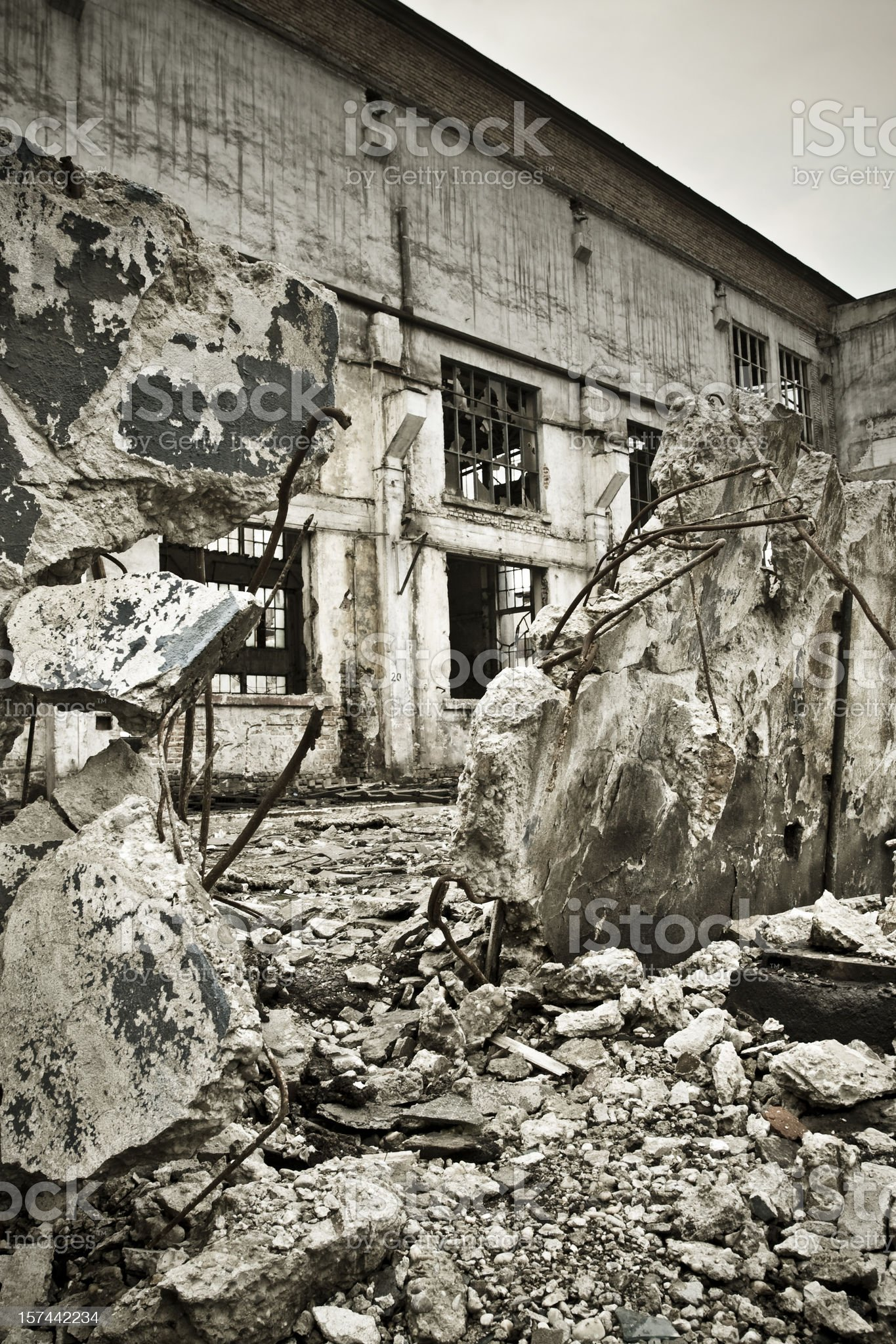 Destroyed building wall on crisis time royalty-free stock photo