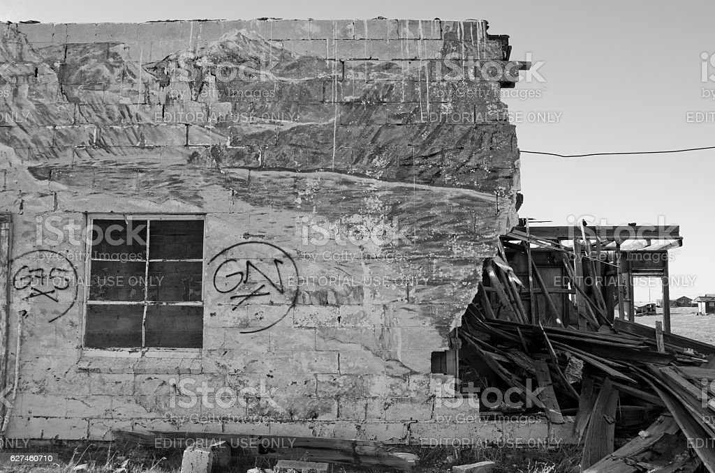 D6015 Destroyed Building with Mural in Cisco, Utah stock photo