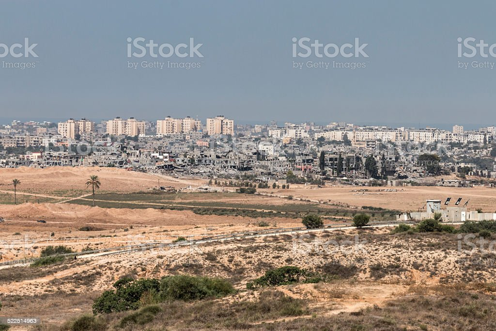 Destroyed buildings in Gaza stock photo