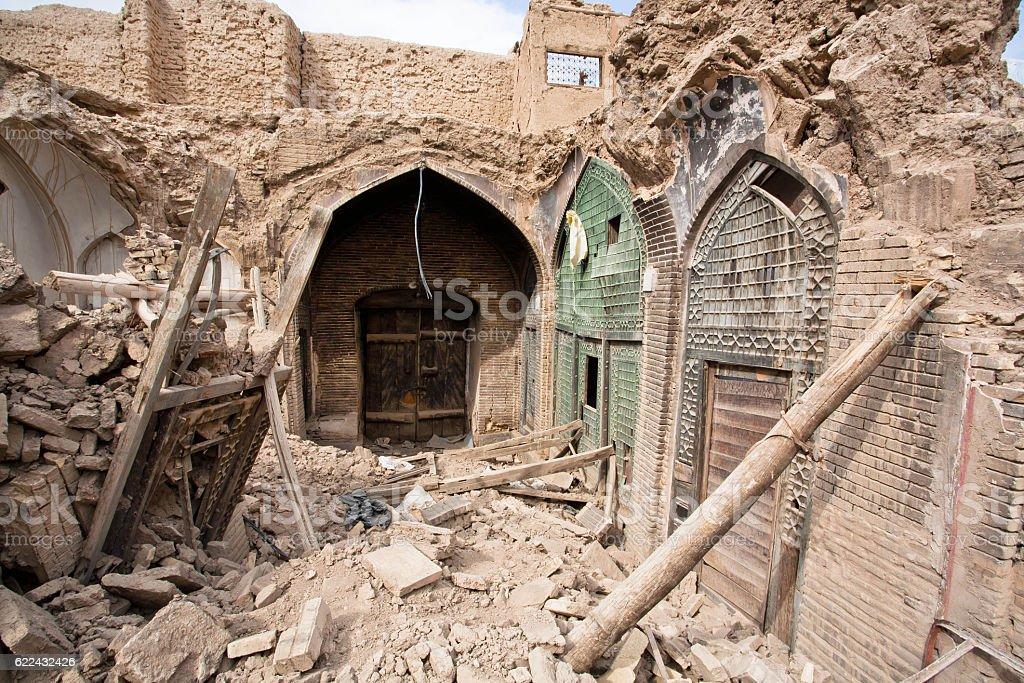 Destroyed buildings of old Persian bazaar in Isfahan, Iran. stock photo