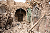 Destroyed buildings of old Persian bazaar in Isfahan, Iran.