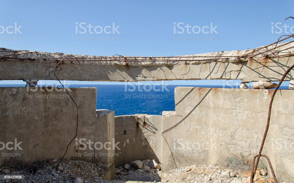 Destroyed bunker of World War II stock photo