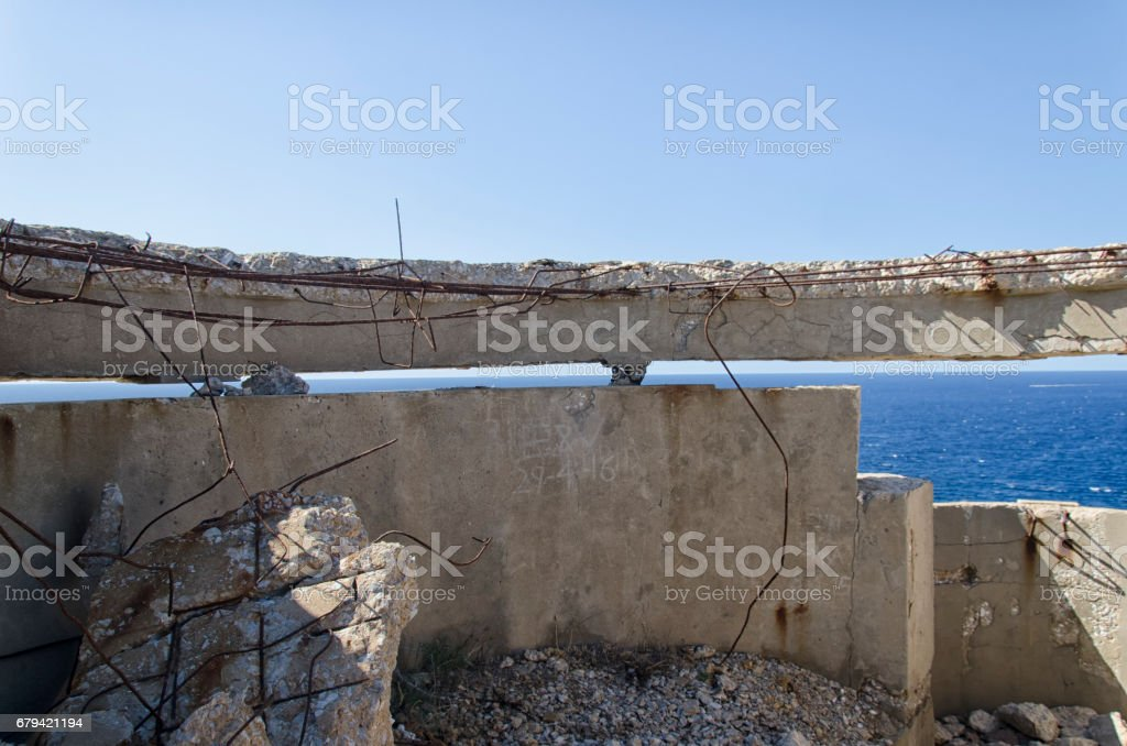 Destroyed bunker of WWII stock photo
