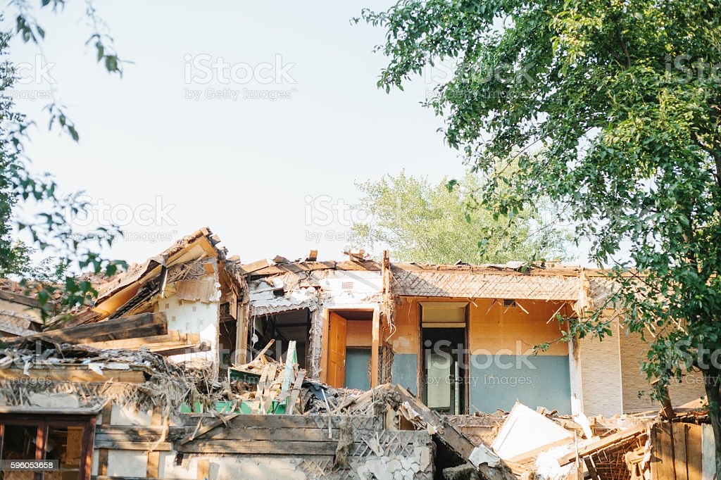 Destroyed by the earthquake building. stock photo