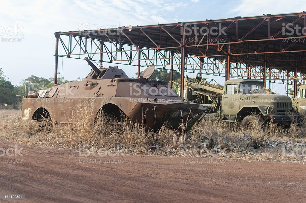 Destroyed cars in Africa royalty-free stock photo
