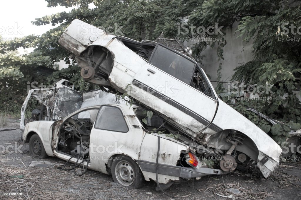 Destroyed cars stock photo