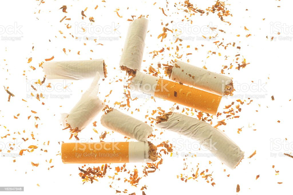 destroyed cigarettes royalty-free stock photo