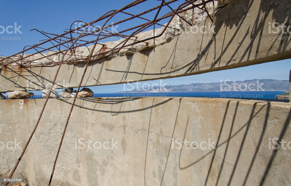 Destroyed fortress of World War II stock photo
