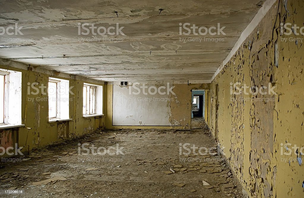 Destroyed gallery interior royalty-free stock photo