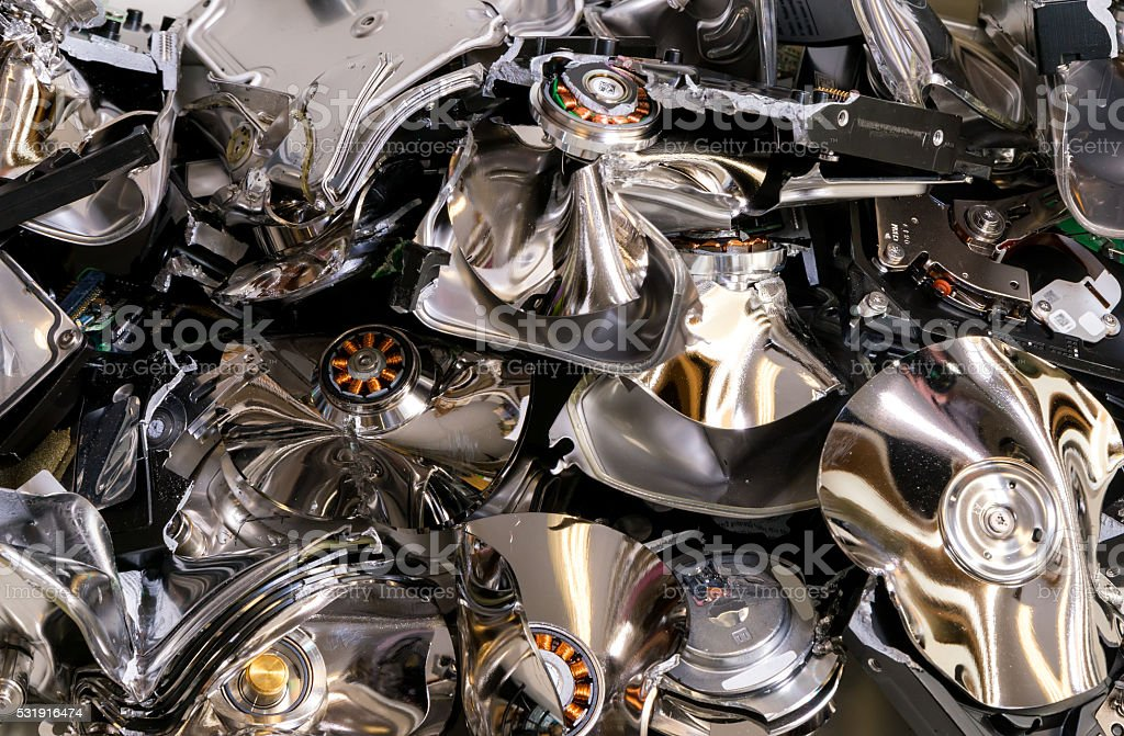 Destroyed Hard Drives stock photo