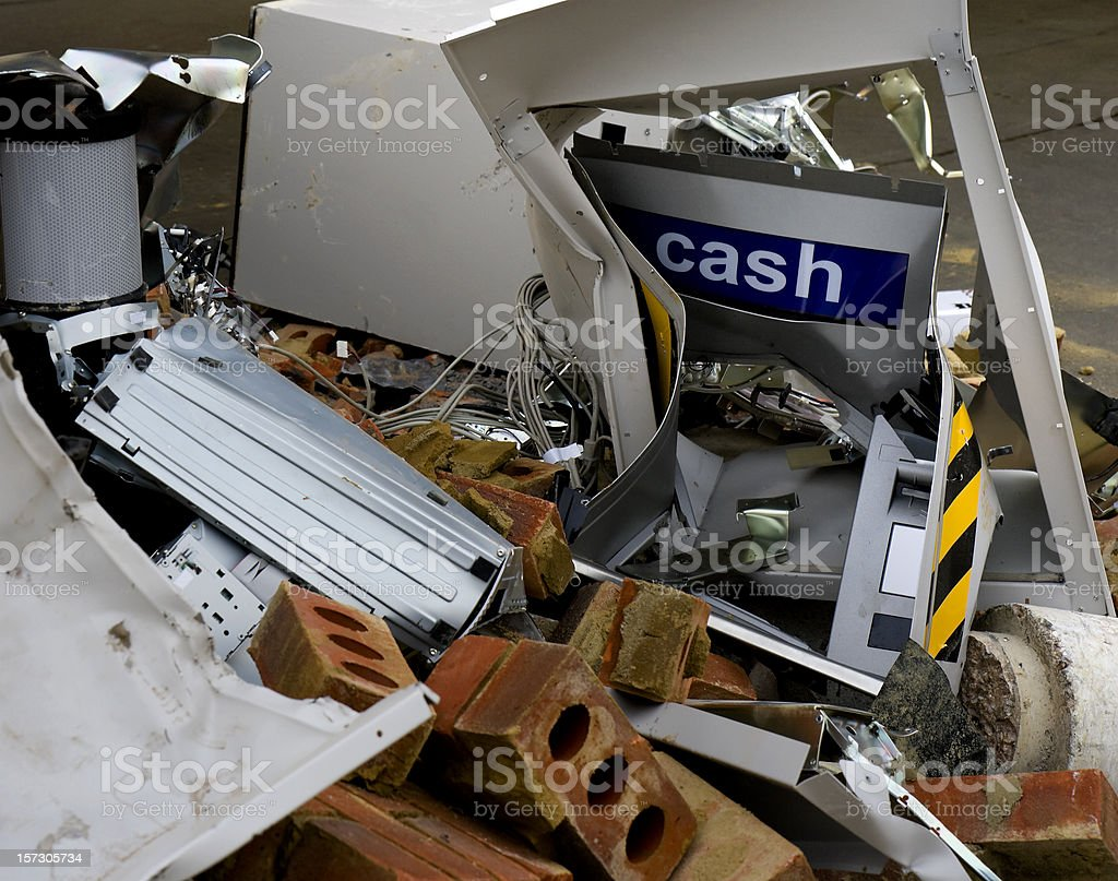 Destroyed 'hole in the wall' cash machine royalty-free stock photo