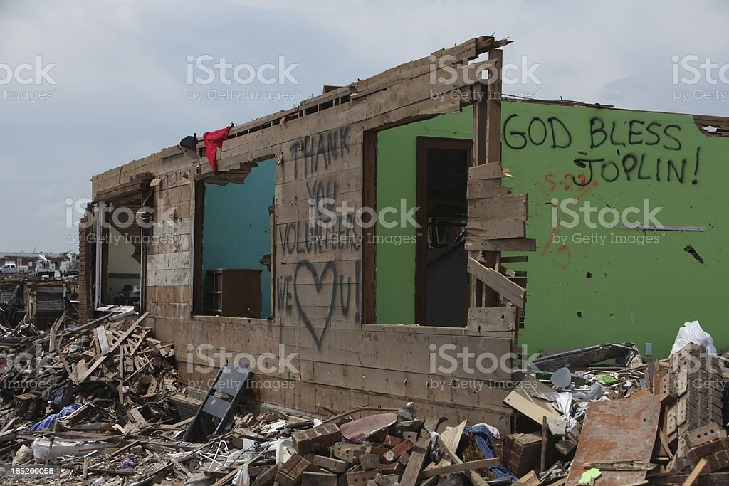 Destroyed Home in Joplin after a Tornado royalty-free stock photo