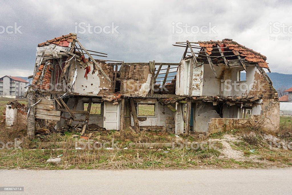 Destroyed Home in Sarajevo, Bosnia stock photo