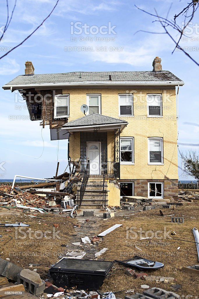 Destroyed home in Union Beach, NJ stock photo