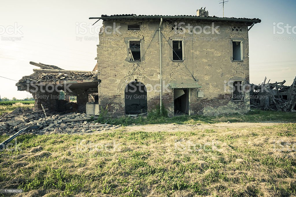 Destroyed House, Earthquake of 2012 in Northern Italy (Emilia Romagna) royalty-free stock photo