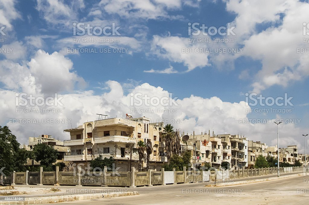 Destroyed houses in Homs stock photo