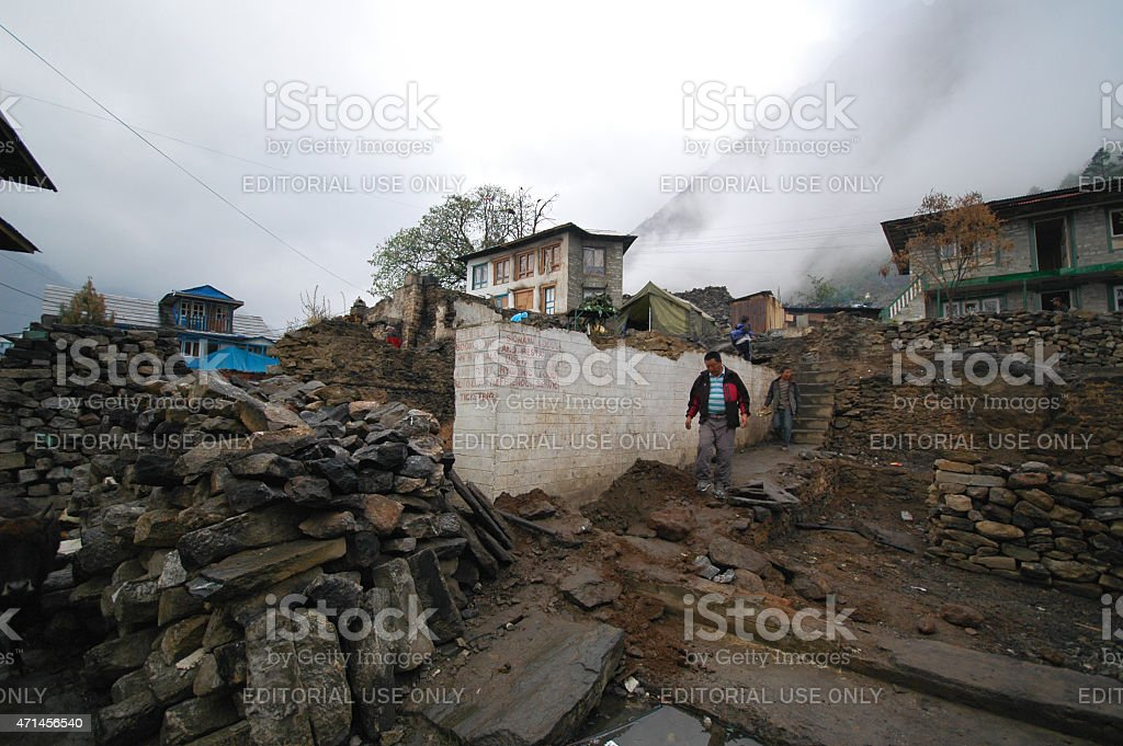 Destroyed houses Nepal Himalya stock photo