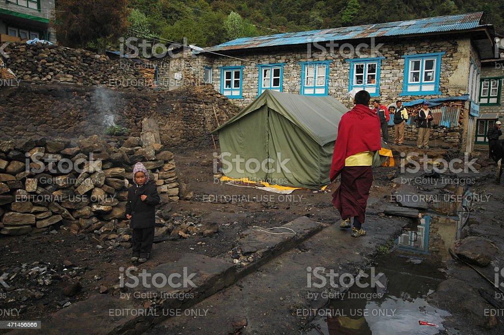 Destroyed houses Nepal Himalya stock photo