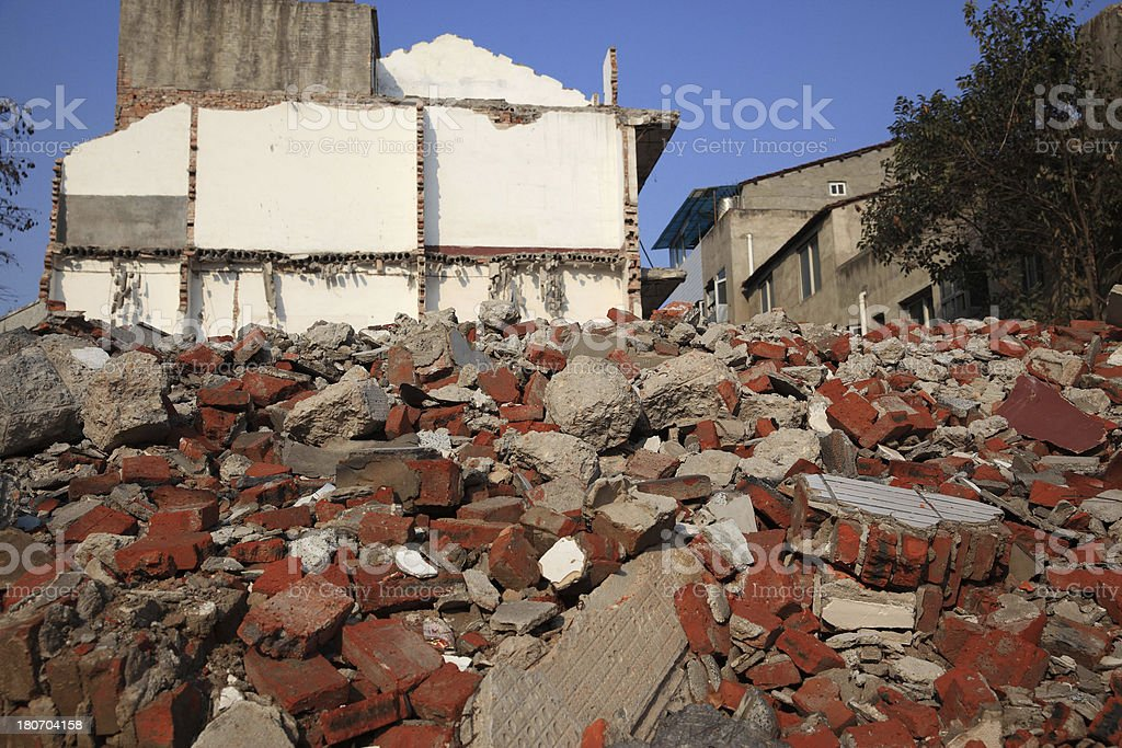 Destroyed industrial building and courtyard on crisis time royalty-free stock photo