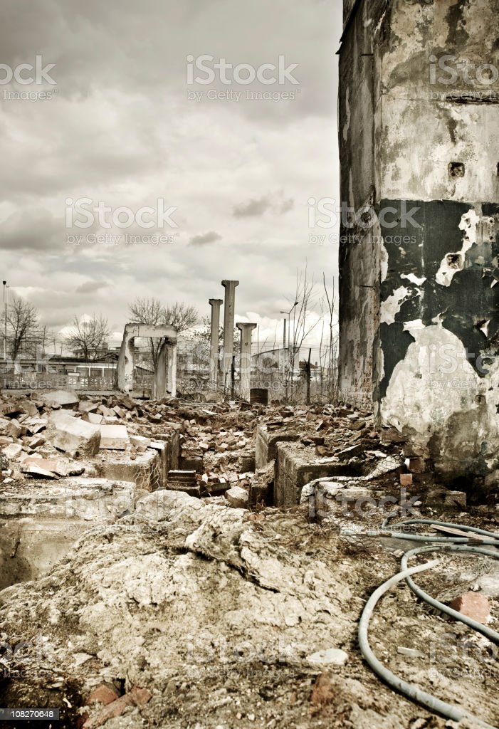 Destroyed industrial building and courtyard stock photo