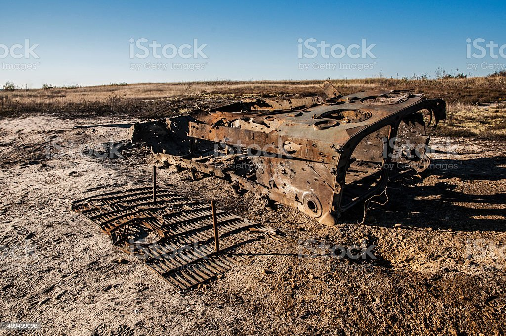 destroyed infantry fighting vehicle stock photo