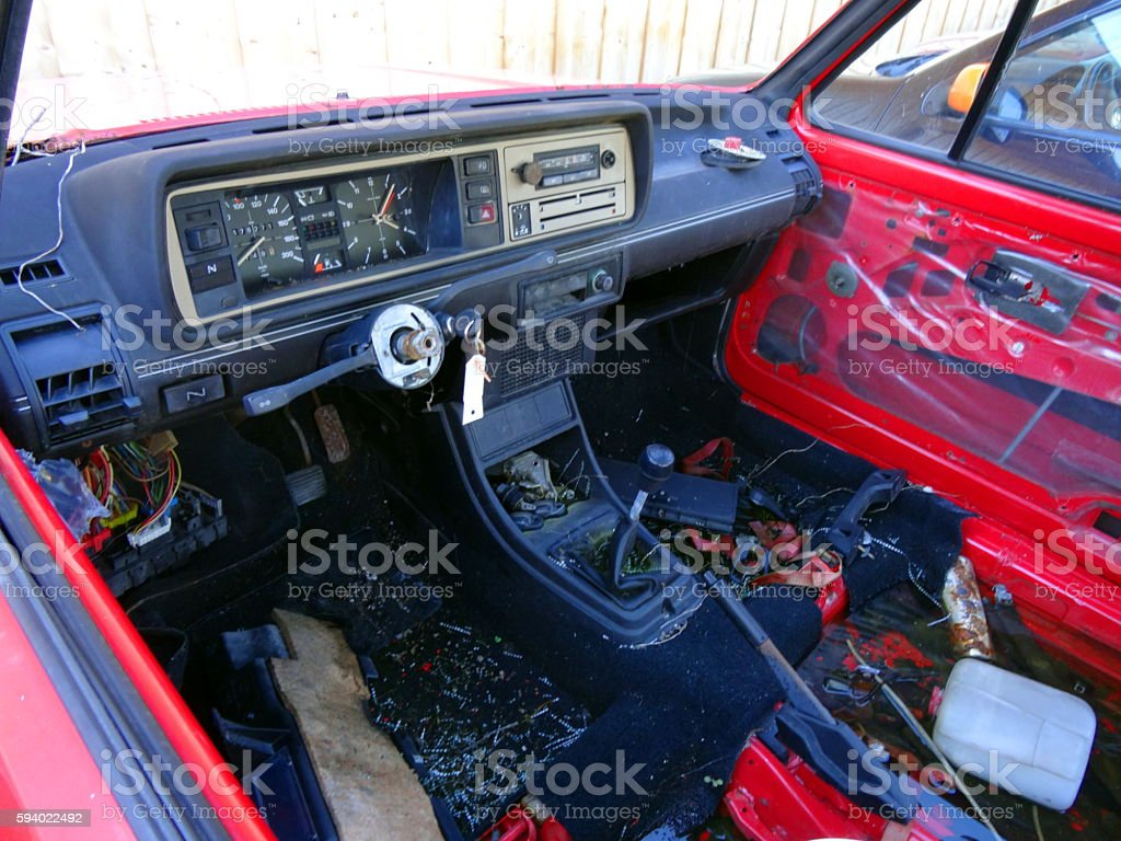 Destroyed instruments panel car stock photo