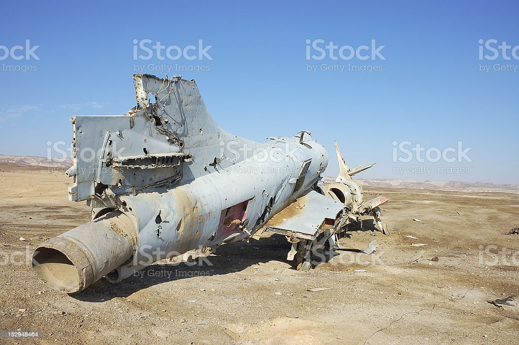 Destroyed military aircraft. stock photo