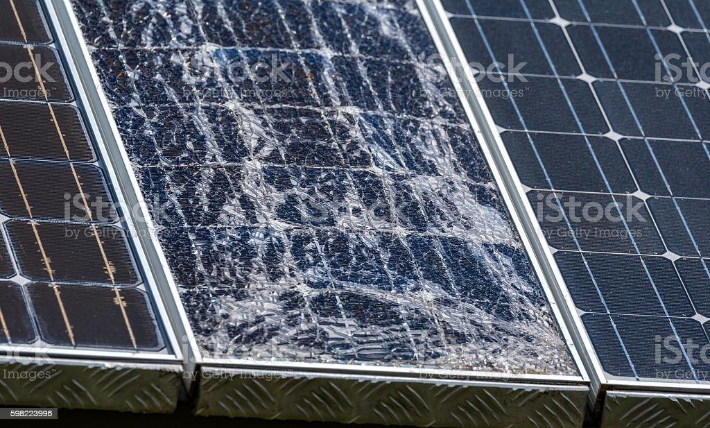 Destroyed modern solar panels stock photo