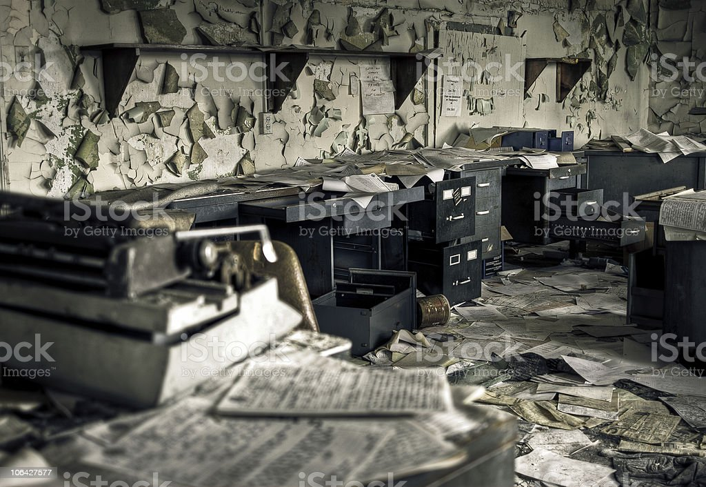 Destroyed Office royalty-free stock photo