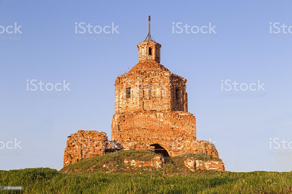 destroyed Orthodox Church. stock photo