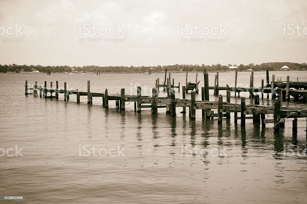 Destroyed Pier and Boat Dock stock photo