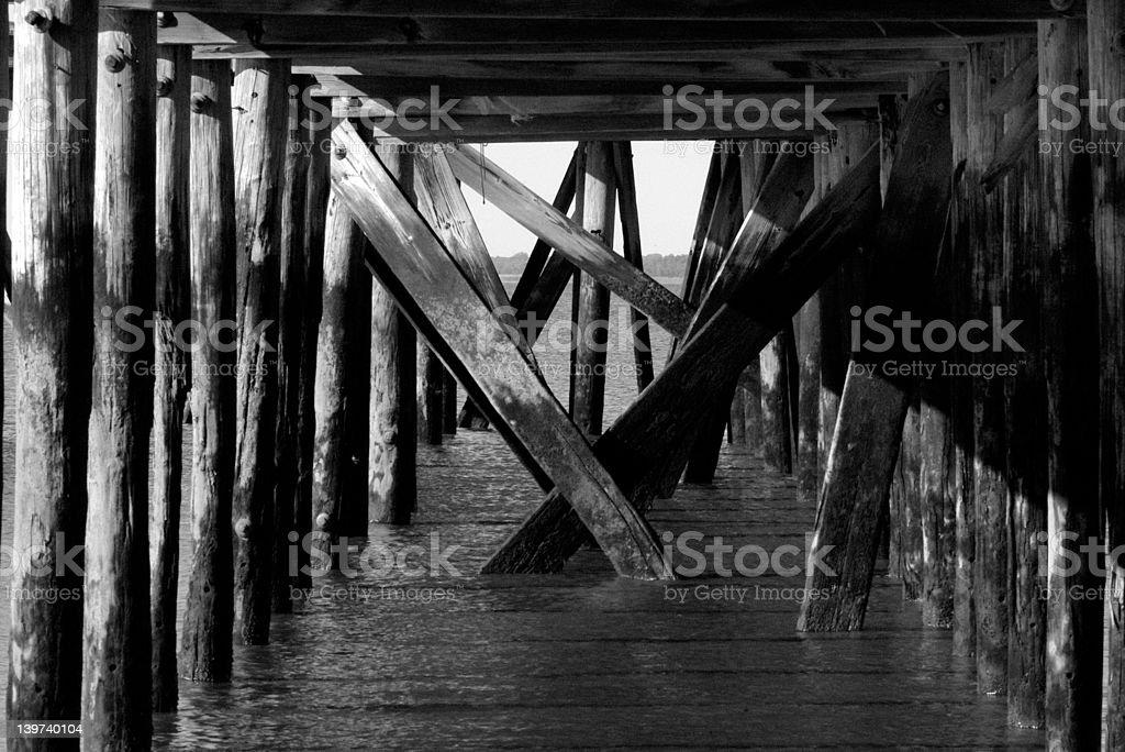 Destroyed pier stock photo