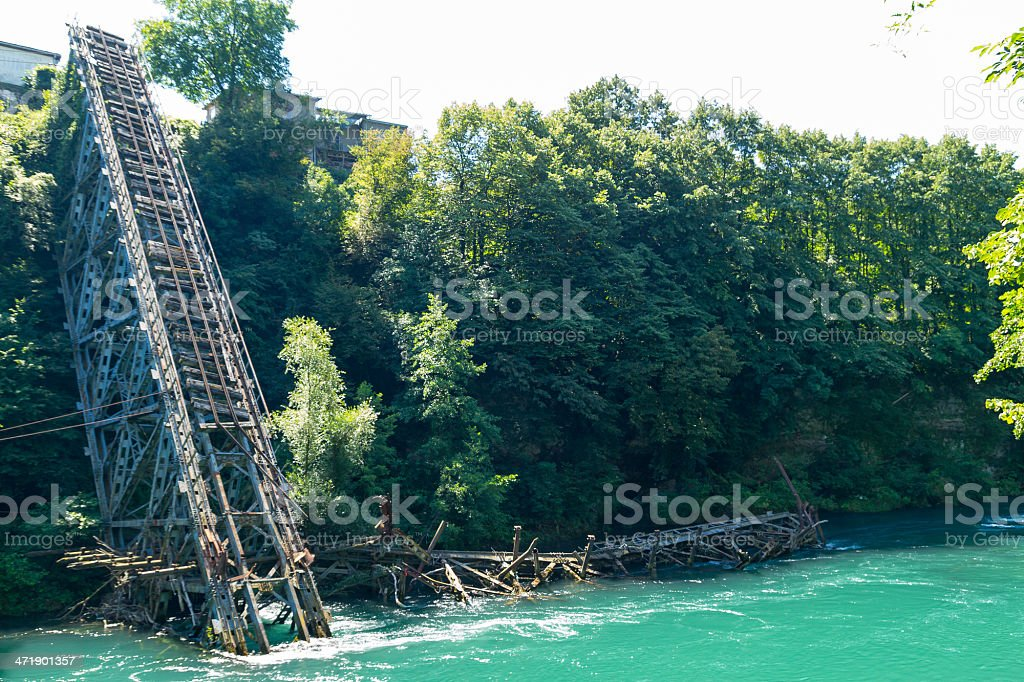 Destroyed railway bridge stock photo