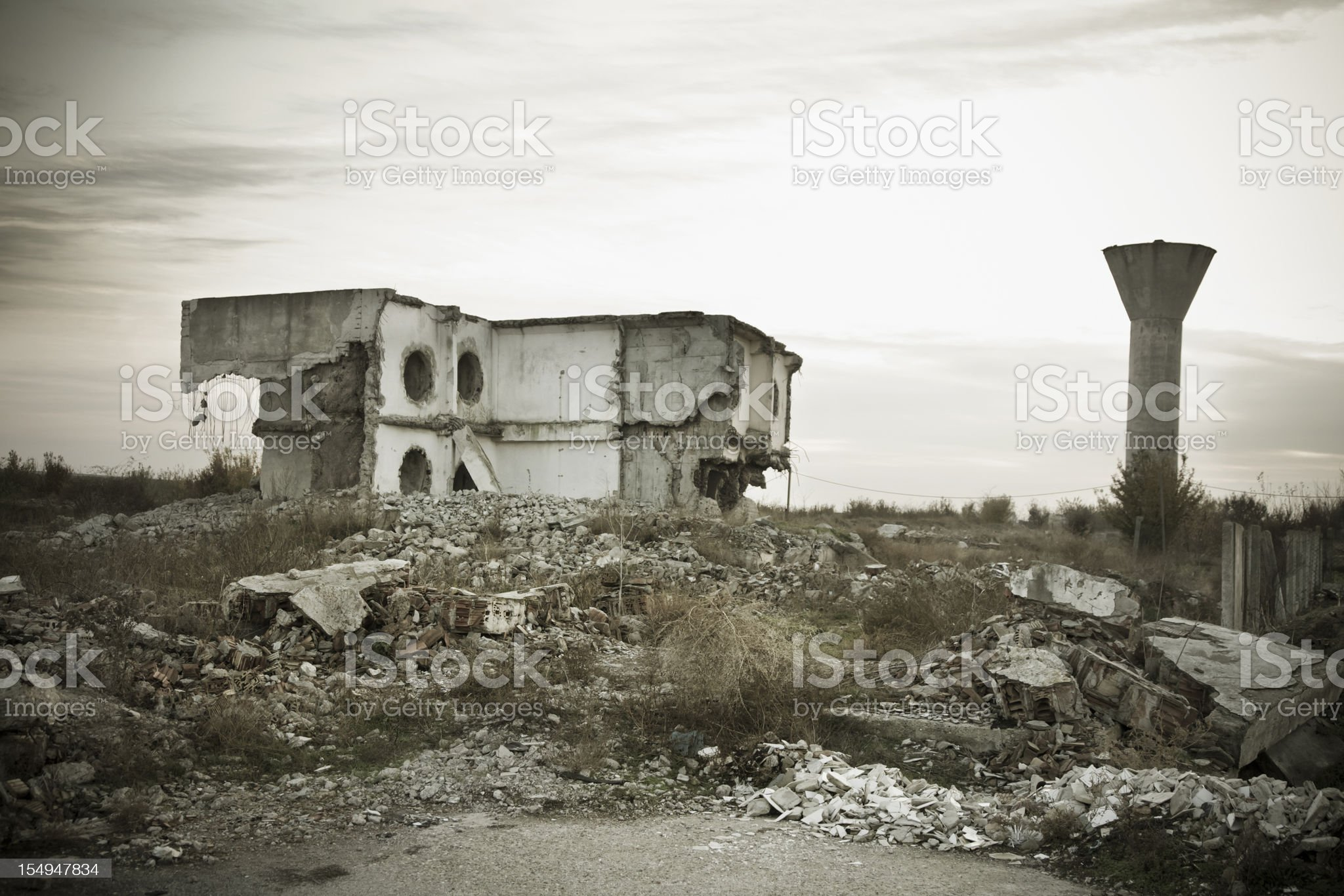 Destroyed residence after earthquake royalty-free stock photo