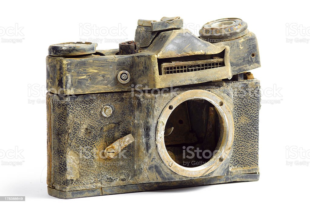 Destroyed SLR camera royalty-free stock photo