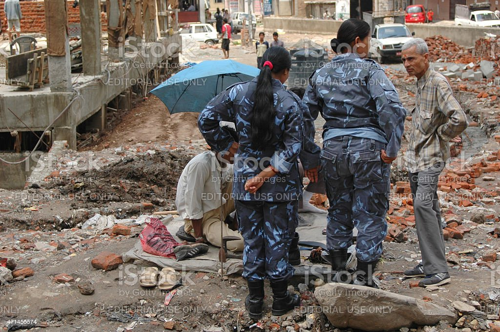 Destroyed street Kathmandu Nepal stock photo