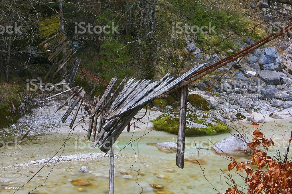 Destroyed Suspension Bridge royalty-free stock photo