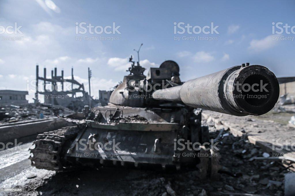 ISIS destroyed tank in Kobane stock photo