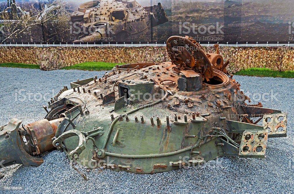 Destroyed tank turret stock photo