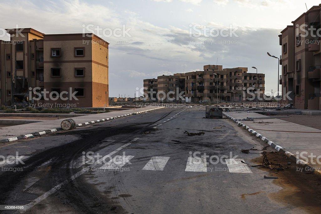 Destroyed Tawergha stock photo