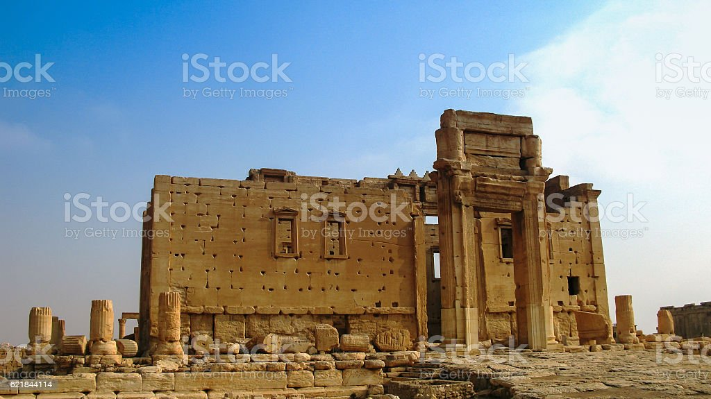Destroyed temple of Baal in Palmyra, Syria, Eliminated by ISIS stock photo